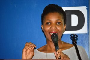 Thandi Ntuli, Metro FM Awards Nominee, addresses the Matrics on the music industry